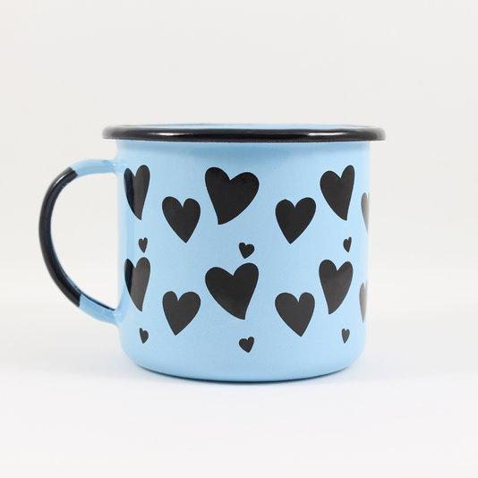 Caneca Esmaltada Coração Azul Claro - EWEL