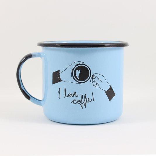 Caneca Esmaltada I Love Coffee Azul Claro - EWEL