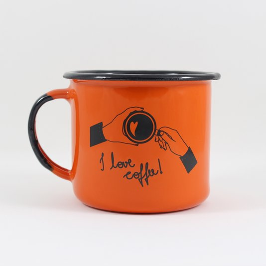 Caneca Esmaltada I Love Coffee Laranja - EWEL