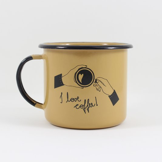 Caneca Esmaltada I Love Coffee Marrom - EWEL