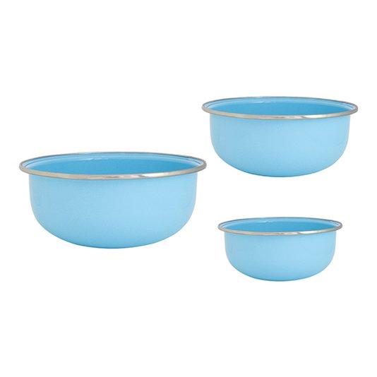 Conjunto de Tigela Esmaltadas – 03 pçs – Azul Claro (EWEL)