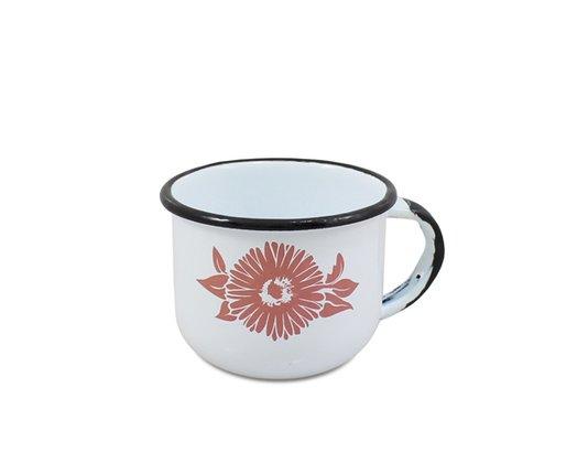 Xícara n° 06 Esmaltada Branca 120 ml EWEL com Flor Coral