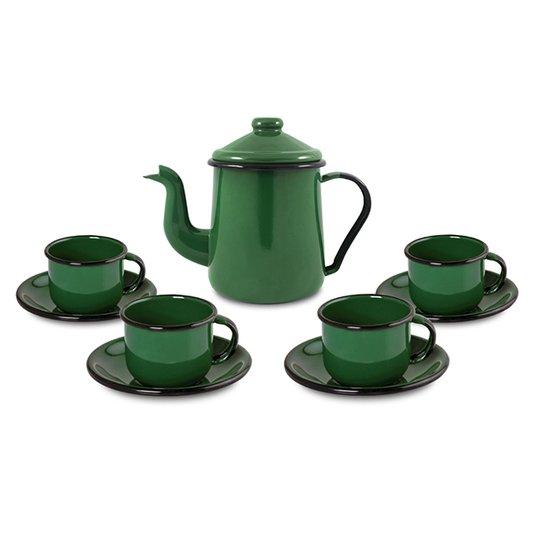 Conjunto de Café Esmaltado – 09 pçs – Verde (EWEL)