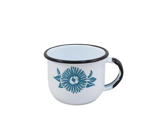 Xícara n° 06 Esmaltada Branca 120 ml EWEL com Flor Azul