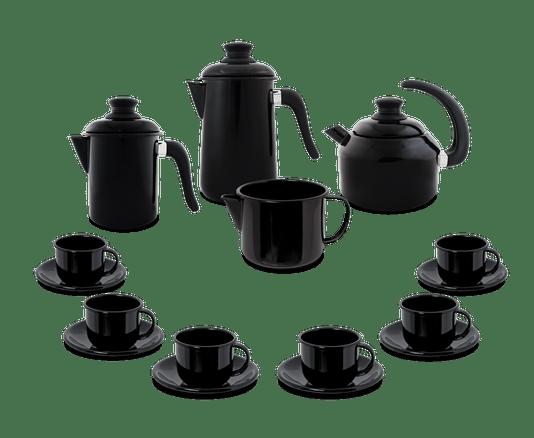 Kit Café Esmaltado 16 peças - Preto