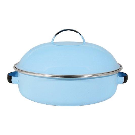 "Fritadeira Multiuso Esmaltada ""COM TAMPA"" - nº 26 - Azul Claro - 4000 ml (EWEL)"