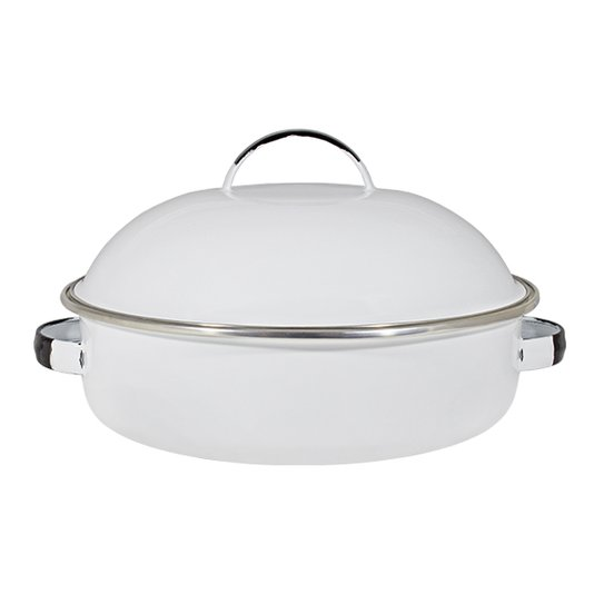 "Fritadeira Multiuso Esmaltada ""COM TAMPA"" - nº 26 - Branca - 4000 ml (EWEL)"