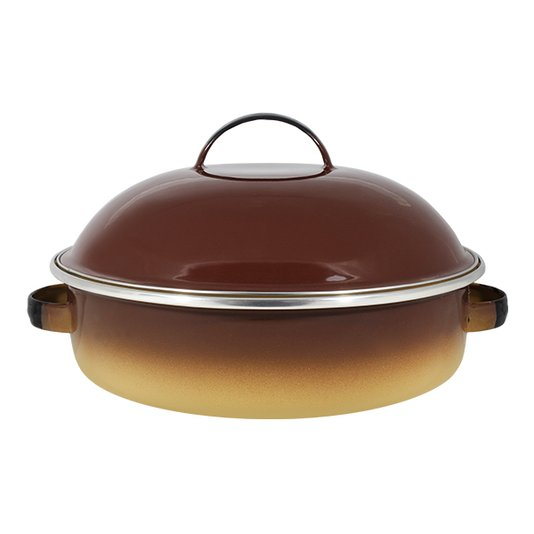 "Fritadeira Multiuso Esmaltada ""COM TAMPA"" - nº 26 - Marrom - 4000 ml (EWEL)"