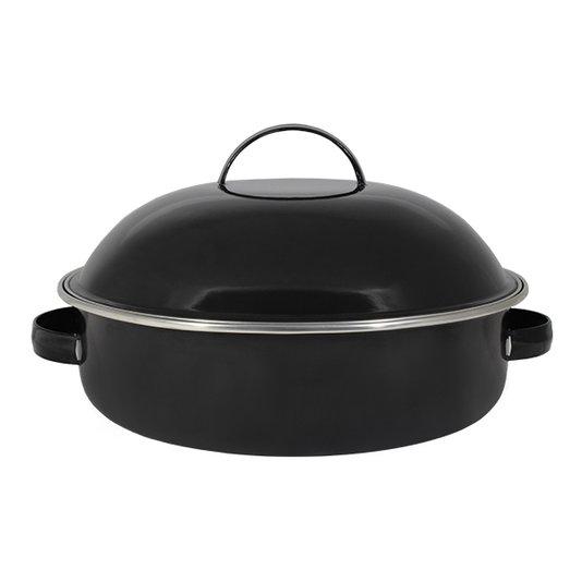 "Fritadeira Multiuso Esmaltada ""COM TAMPA"" - nº 26 - Preta - 4000 ml (EWEL)"