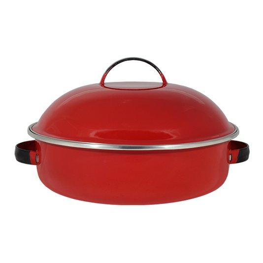 """Fritadeira Multiuso Esmaltada """"COM TAMPA"""" - nº 26 - Vermelha - 4000 ml (EWEL)"""