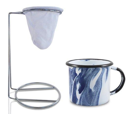 Kit Meu Café - Coleção Marmorizada - Azul