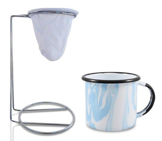 Kit Meu Café - Coleção Marmorizada - Azul Claro