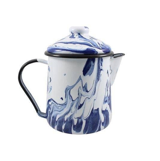 Leiteira Esmaltada Tradicional - nº 12 - Azul - 1000 ml (EWEL Coleção Marmorizada)