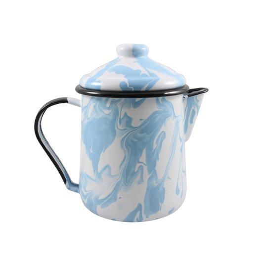 Leiteira Esmaltada Tradicional - nº 12 - Azul Claro - 1000 ml (EWEL Coleção Marmorizada)