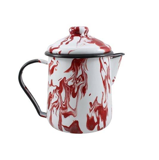 Leiteira Esmaltada Tradicional - nº 12 - Vermelha - 1000 ml (EWEL Coleção Marmorizada)