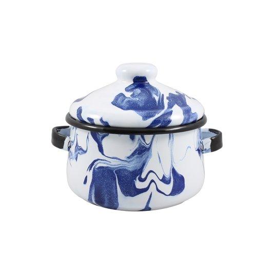 Mini Caçarola Esmaltada com Alça - nº 10 - Azul - 500 ml (EWEL Coleção Marmorizada)