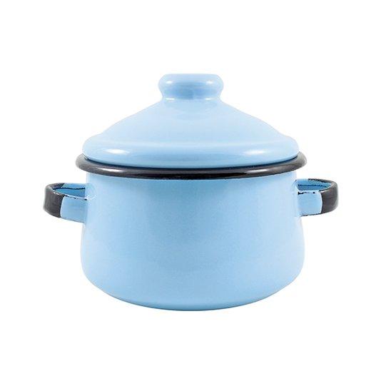 Mini Caçarola Esmaltada com Alça - nº 10 - Azul Claro - 500 ml (EWEL)