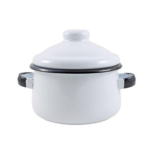 Mini Caçarola Esmaltada com Alça - nº 10 - Branca - 500 ml (EWEL)
