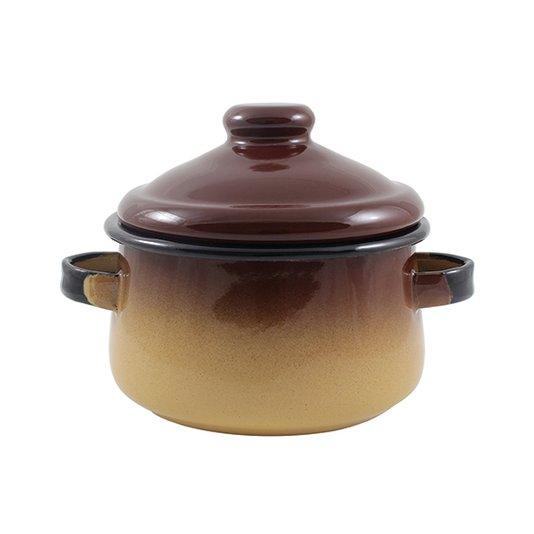 Mini Caçarola Esmaltada com Alça - nº 10 - Marrom - 500 ml (EWEL)