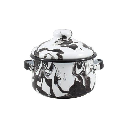 Mini Caçarola Esmaltada com Alça - nº 10 - Preta - 500 ml (EWEL Coleção Marmorizada)