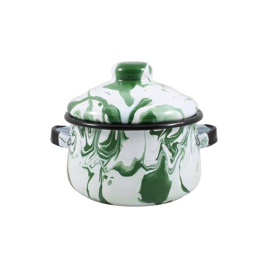 Mini Caçarola Esmaltada com Alça - nº 10 - Verde - 500 ml (EWEL Coleção Marmorizada)