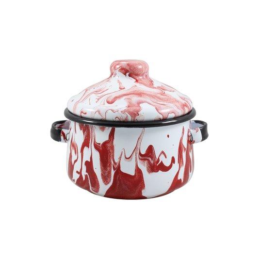 Mini Caçarola Esmaltada com Alça - nº 10 - Vermelha - 500 ml (EWEL Coleção Marmorizada)