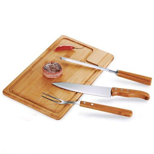 Conj. para churrasco em bambu/inox Texas - 4 pçs