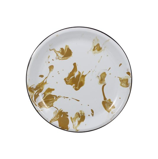 Prato Esmaltado Raso - nº 26 - Marrom - 700 ml (EWEL Coleção Marmorizada)