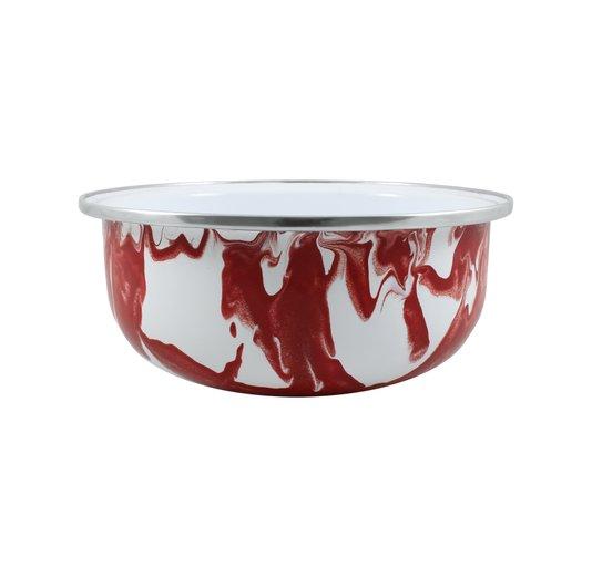 Tigela Esmaltada Vermelha - EWEL Coleção Marmorizada