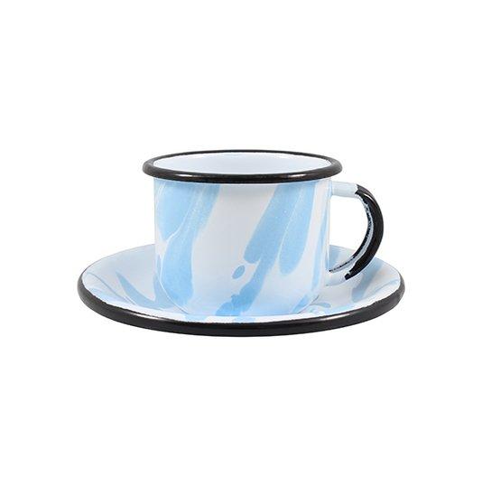 Xícara Esmaltada com Pires Esmaltado Azul Claro - EWEL Coleção Marmorizada
