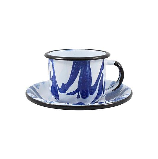 Xícara Esmaltada com Pires Esmaltado Azul - EWEL Coleção Marmorizada