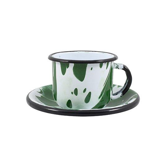 Xícara Esmaltada com Pires Esmaltado Verde - EWEL Coleção Marmorizada