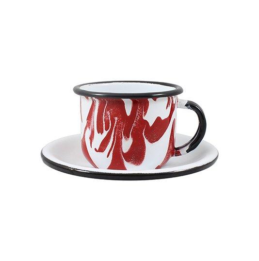 Xícara Esmaltada com Pires Esmaltado Vermelha - EWEL Coleção Marmorizada