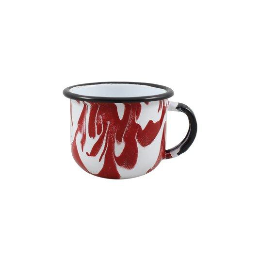 Xícara Esmaltada Vermelha - EWEL Coleção Marmorizada