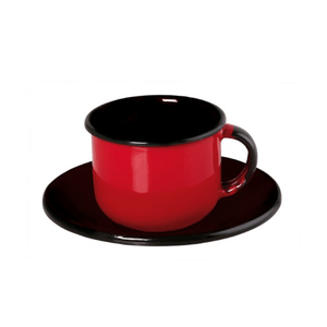 Xícara Esmaltada com Pires Esmaltado Vermelha - EWEL