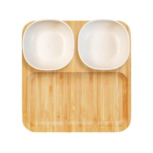 Conj. Para petiscos e patês em bambu/cerâmica Atlânta - 5 pçs