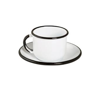 Xícara Esmaltada com Pires Esmaltado Branca - EWEL
