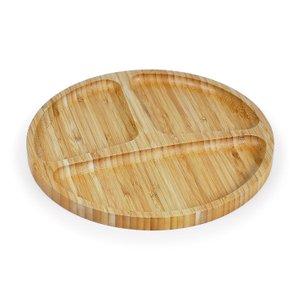 Petisqueira redonda em bambu com 3 divisões - Welf