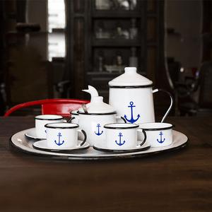 Conjunto de Café Esmaltado – 12 pçs – Branco Ancora (À LA GARÇONNE + EWEL)