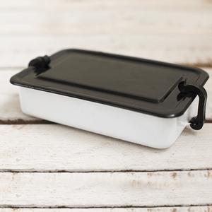 Marmita Esmaltada Retangular – Branca - 800 ml (EWEL)
