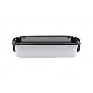 Marmita Esmaltada Retangular – Branca – 11 x 17,5 cm - 800 ml (EWEL)