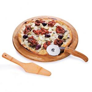 Conj. Para pizza em bambu Napoli 35 cm - 3 pçs