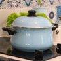 Caçarola Esmaltada com Alças - Bojuda Azul Claro - EWEL